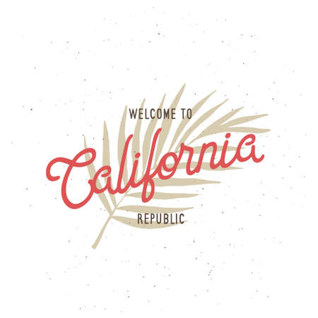 republic: Welcome to California republic t-shirt graphics. California related apparel design. Vintage style illustration.