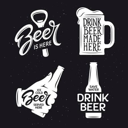 Beer related typography. Vector vintage lettering illustration. Chalkboard design elements for beer pub. Beer advertising.