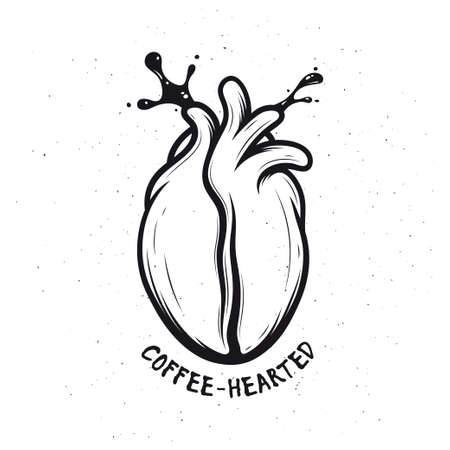 illustration: Coffee bean made of human heart. Coffee splashes. Creative monochrome poster. Coffee-hearted. Vector vintage illustration.