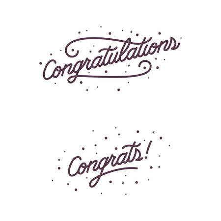 praise hands: Congratulations. Hand lettering illustration. Calligraphic greeting inscription. Vector handwritten typography. Trendy design element for greeting cards, prints and posters. Illustration