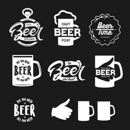 맥주 관련 인쇄술. 벡터 빈티지 문자 그림입니다. 맥주 술집에 대한 칠판 디자인 요소입니다. 맥주 광고.