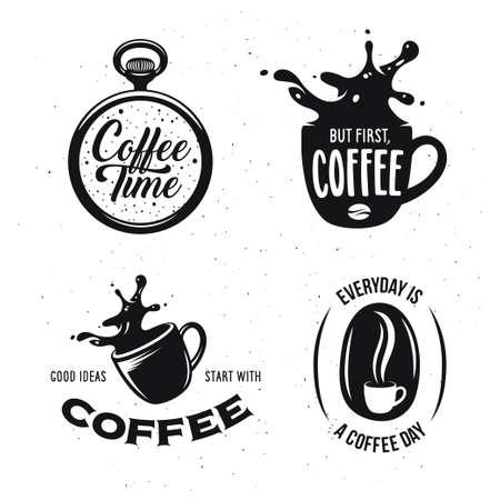 Kawa ustawić cytaty związane. Czas na kawę. Ale po pierwsze, kawa. Dobre pomysły zaczynają się kawy. Każdego dnia jest dzień kawy. Elementy konstrukcyjne dla kawiarni i barów napar. Wektor vintage, ilustracji.