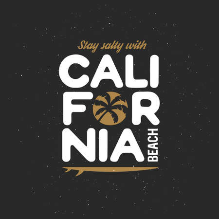 west coast: California beach t-shirt vector graphics. California related apparel design. Vintage style illustration.