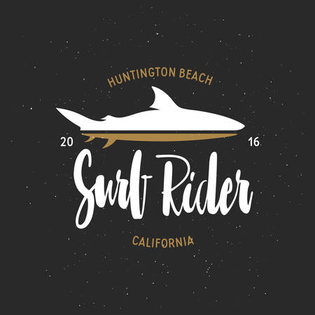apparel: Surf rider t-shirt vector graphics. California related apparel design. Vintage style illustration.