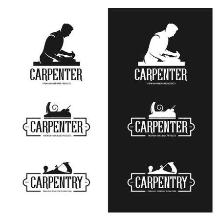 Timmerwerk Vintage etiketten set. Carpenter emblemen. Design elementen voor timmerbedrijf reclame en branding. Trendy zwart-wit vector illustratie.