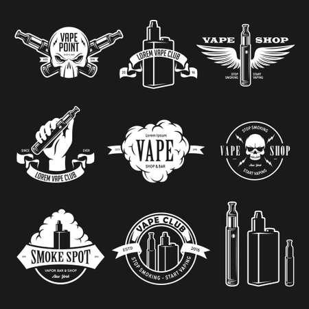 Set of vape, e-cigarette emblems, labels, prints and logos. Vector vintage illustration. Isolated on white background.