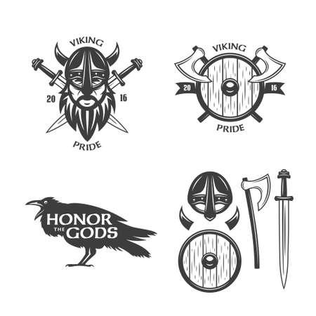 Viking related t-shirt graphics. Monochrome design elements for labels, badges, emblems, posters and prints. Viking pride slogan. Trendy viking signs set. Vector vintage illustration.