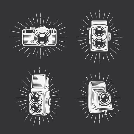photographic camera: Retro photo cameras set.