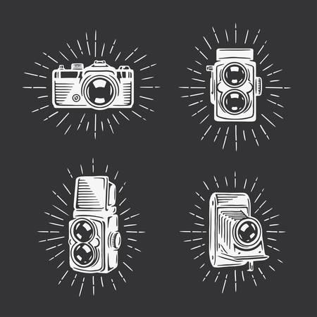 Retro photo cameras set.