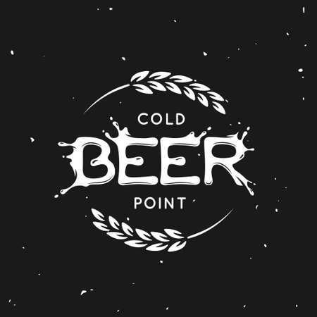 Beer point lettering poster. Pub emblem on black background. Hand crafted creative beer related composition. Design elements for chalkboard advertising. Vector vintage illustration. Иллюстрация