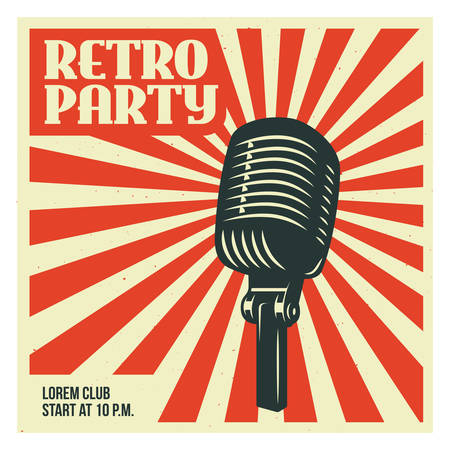 Retro party advertising with old microphone. Old school poster design. Vector vintage illustration.