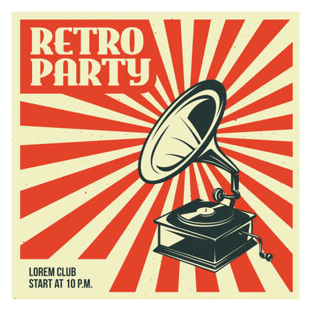 レトロなパーティの古い蓄音機の広告します。古い学校のポスター デザイン。ベクトル ビンテージ イラスト。  イラスト・ベクター素材