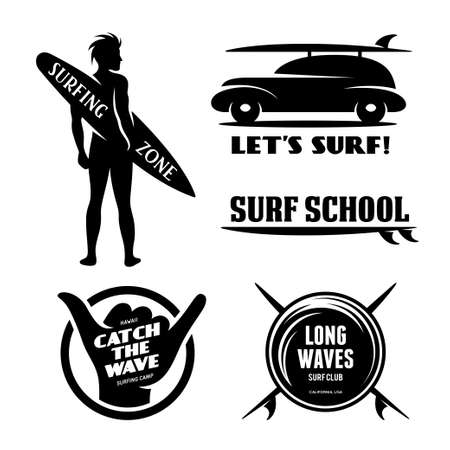 surfer silhouette: Surfing related labels set. Catch the wave. Quotes about surfing. Surf car with surfboard. Surfer silhouette. Trendy design elements for t-shirt designs, prints and posters. Vector vintage illustration.