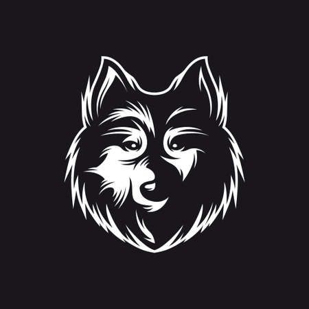 animal head: Wolf head monochrome symbol. Hand crafted wolf emblem. Detailed element for label badge icon  design. Authentic vintage graphics. Vector illustration.