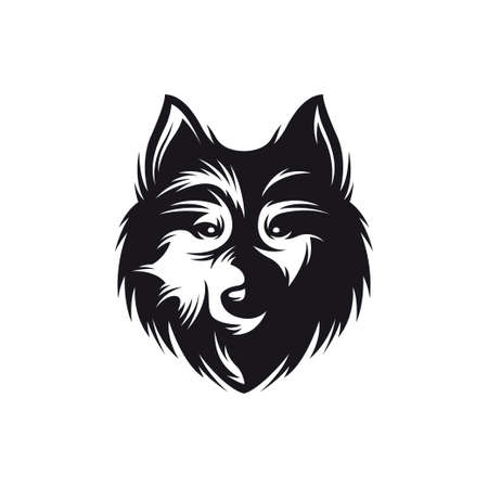 hand crafted: Wolf head monochrome symbol. Hand crafted wolf emblem. Detailed element for label badge icon  design. Authentic vintage graphics. Vector illustration.