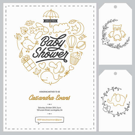 floral elements: Baby shower invitation templates set. Floral design elements for decoration. Baby shower holiday greeting cards. Hand drawn vintage illustration.