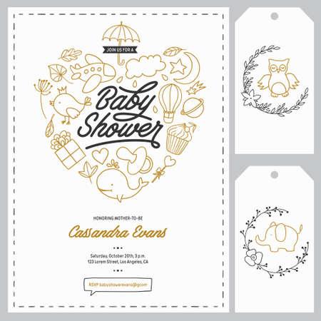 plantillas de invitación de la ducha del bebé fijados. Elementos del diseño floral para la decoración. la ducha del bebé tarjetas de felicitación de vacaciones. Dibujado a mano ilustración de la vendimia.