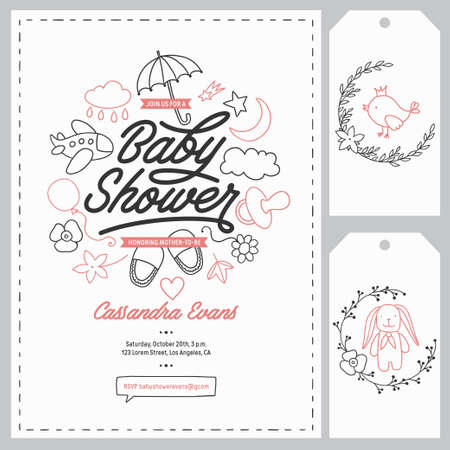 bootees: Baby shower invitation templates set. Floral design elements for decoration. Baby shower holiday greeting cards. Hand drawn vintage illustration.