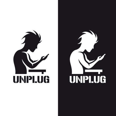 unplug: Silhouette of a man staring at his phone. Motivational poster with word unplug. Monochrome stencil vintage vector illustration. Illustration