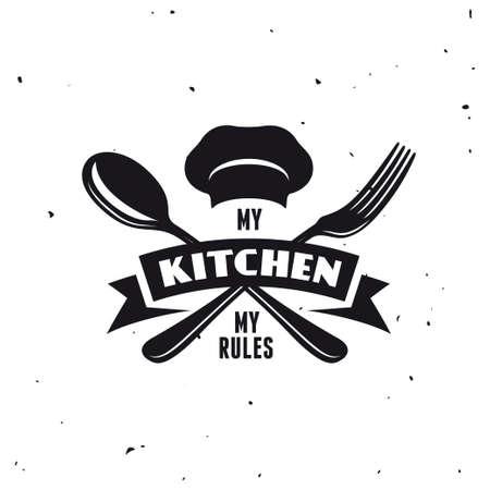Meine Küche meine Regeln. Kochen zugehörige Beschriftung Plakat. Vector Vintage Illustration. Standard-Bild - 62189216