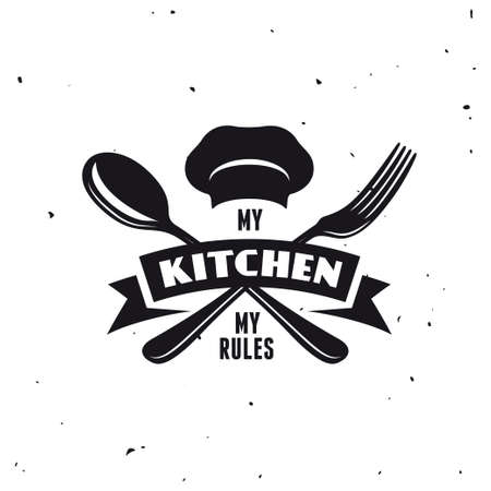 rules: My kitchen my rules. Cooking related lettering poster. Vector vintage illustration.