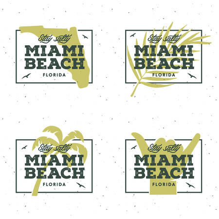 miami florida: Miami beach florida t-shirt graphics. Summer vacation related apparel design. Stay salty lettering quote. Vector vintage illustration.