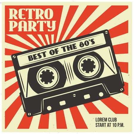 la publicité du parti Retro avec cassette audio. Old conception de l'affiche de l'école. Vector vintage illustration.