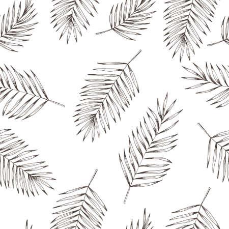 coco: de coco hojas florales patrón transparente. dibujado a mano de fondo blanco y negro para el diseño textil, tarjetas postales, grabados ropa. ilustración vectorial de la vendimia.