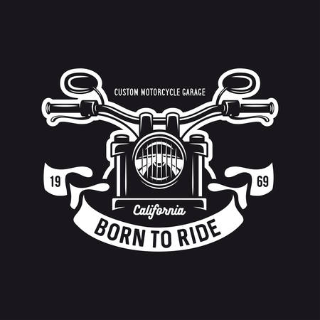 Vintage motorcycle t-shirt graphics. Born to ride quote. Vector illustration. Illustration