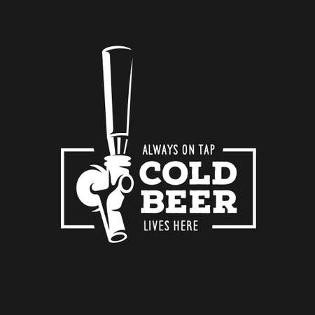 cerveza: grifo de cerveza con cita de la publicidad. elemento de diseño de la pizarra por un pub de la cerveza. Ilustración del vector de la vendimia. Vectores
