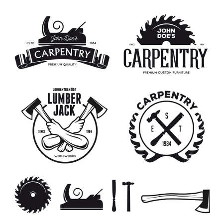 Carpenter design elementen in vintage stijl, label, kenteken, t-shirts. Timmerwerk retro vector illustratie.
