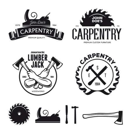 woodworking: Carpenter design elements in vintage style , label, badge, t-shirts. Carpentry retro vector illustration. Illustration
