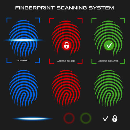 granted: Finger-print scanning identification system. Biometric authorization and business security concept. Access denied and granted mode. Flat design elements for mobile applications. Vector illustration.
