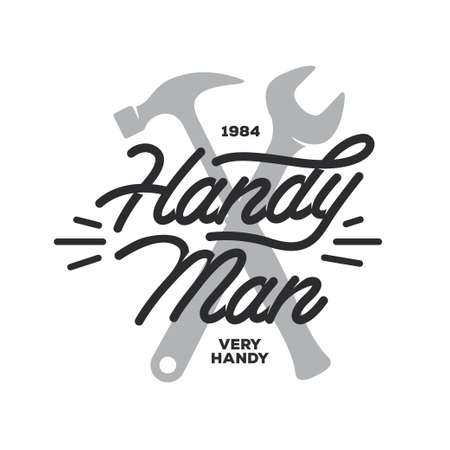 hammers: Handyman lettering emblem. Hammer and wrench silhouette in minimalistic style. Carpentry related t-shirt design. Vector vintage illustration.