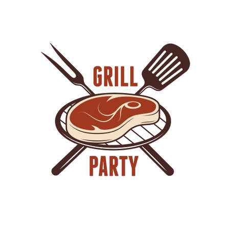 barbecue grill: Bbq grill party poster. Barbecue related print. Crossed kitchenware for cooking meat. Vector vintage illustration.