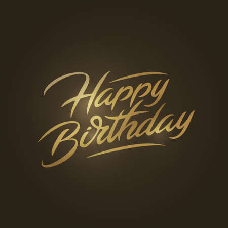 Happy birthday brush script style hand lettering. Custom typographic composition . Original hand crafted design. Calligraphic saying. Hand drawn vector vintage illustration. 矢量图像