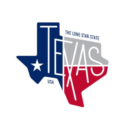 Texas liée conception t-shirt. L'état solitaire d'étoile. notion de couleur sur fond noir. Vintage vector illustration. Banque d'images - 62191699