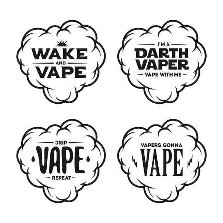 tshirt designs: Vape related t-shirt designs set. Quotes about vaping. Vector vintage illustration. Illustration