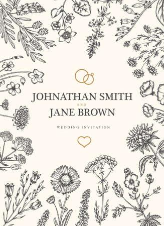 sorrel: Wedding invitation in boho style. Wild flowers and herbs frame border. Daisy, harebell, scabious, bergamot, sorrel, california poppy, valerian. Vector vintage illustration