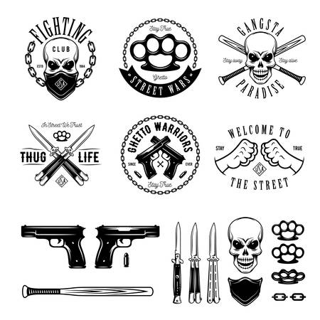gangsta: Gangster labels badges emblems design elements set. Gangsta style quotes. Thug life. Stay true. Street wars. Crossed weapon, skull in bandana. Vintage vector illustration.