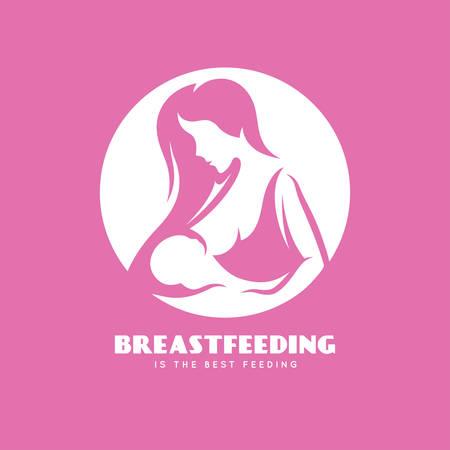La lactancia materna es el mejor cartel feedign estilo minimalista. madre dando el pecho con un niño. Ilustración del vector de la vendimia.