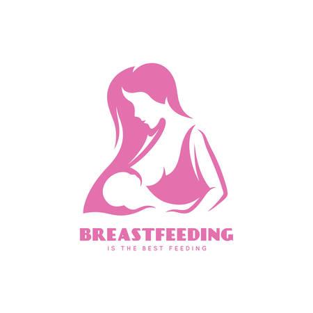 모유 수유는 최소한의 스타일의 포스터입니다. 아이와 함께 수유 어머니입니다. 벡터 빈티지 그림입니다.