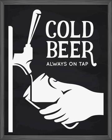 Bierzapfhahn und Hand mit Glas-Werbung. Tafel-Design-Element für Bierlokal. Vector Vintage Illustration.