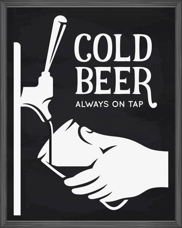 Beer tap and hand with glass advertising. Chalkboard design element for beer pub. Vector vintage illustration.