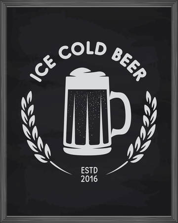 Ice cold beer poster. Pub emblem on chalkboard background. Hand crafted creative beer related composition. Vector vintage illustration.