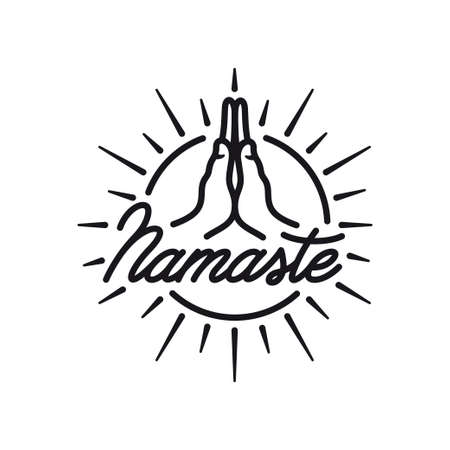 Hand drawn namaste sign. Hello in hindi. Hand crafted lettering isolated on white background. Motivational positive quote. Yoga center emblem. Vector vintage illustration. Çizim