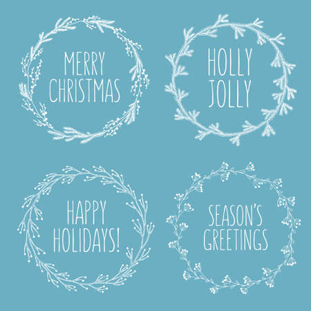 season's greeting: Christmas related hand drawn floral wreaths set. Greeting christmas quotes. Holly jolly. Happy holidays. Seasons greetings. Decorative design elements for postcards. Vector vintage illustration.