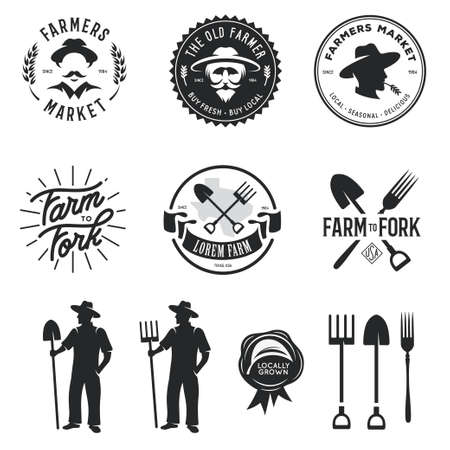 Farmers market set of labels badges emblems and design elements. Farm to fork lettering. Monochrome graphics isolated on white background. Vector vintage illustration.