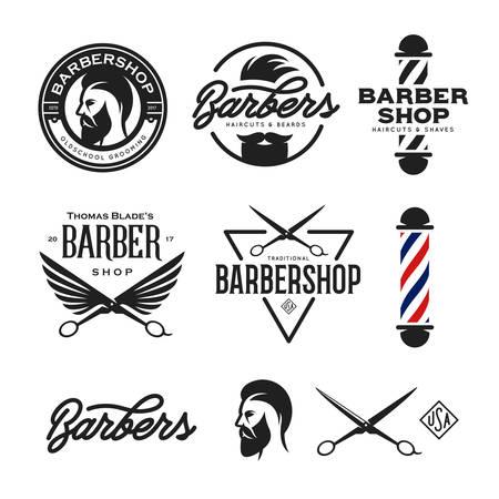 Barber Shop Abzeichen gesetzt. Barbers Hand Schriftzug. Design-Elemente für Logo, Etiketten, Embleme. Vector Vintage Illustration.