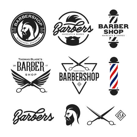 Barber shop badges set. Barbers hand lettering. Design elements collection for logo, labels, emblems. Vector vintage illustration.
